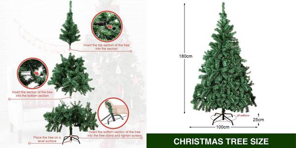 Árbol de navidad artificial realista Geediar de 180 cm y 650 puntas con ramas densas chollo en Amazon