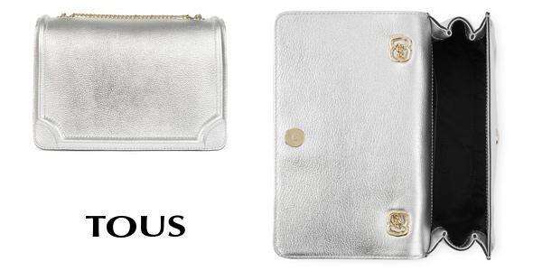 Bolso Bandolera de piel Tous Obraian en color plata oferta en Amazon