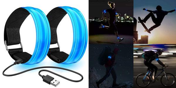 Brazaletes con luz LED para visibilidad nocturna chollo