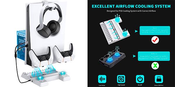 Chollo Base con ventilación NexiGo para PS5 con soporte de auriculares y carga de mandos