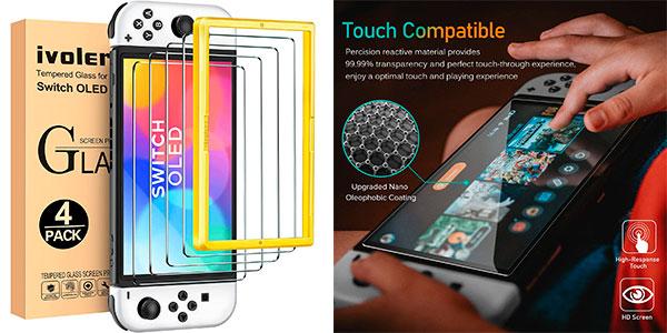 Chollo Pack x4 Protector de pantalla Ivoler para Switch OLED