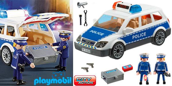 Set Coche de Policía con luz y sonido de Playmobil con 2 figuras en oferta