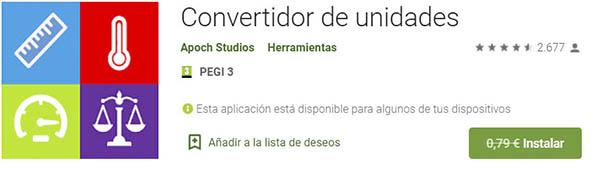 convertidor unidades app gratis Android