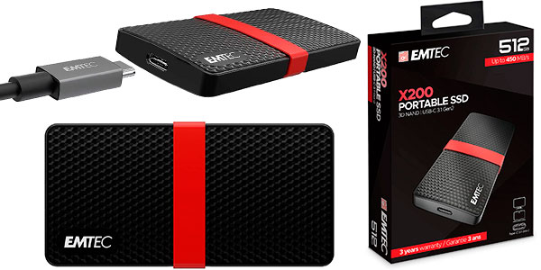 Disco duro externo SSD Emtec X200 USB-C de 512 GB barato