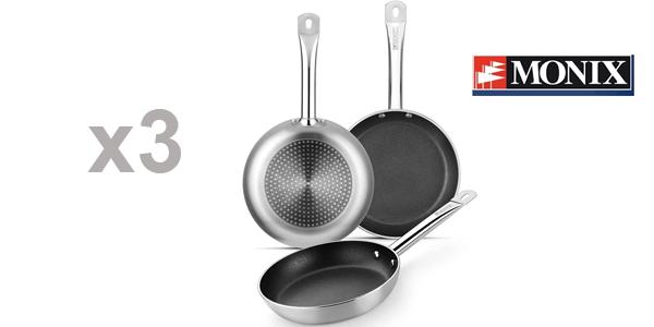 Set x3 sartenes antiadherentes Monix Profesional de 20, 24 y28 cm aptas para todo tipo de cocinas e inducción baratas en Amazon