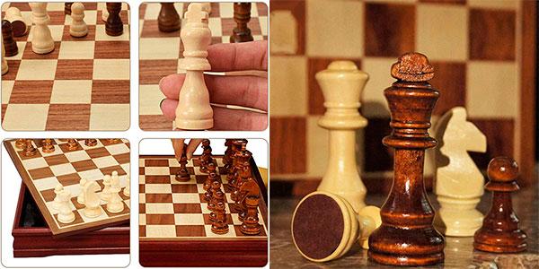 Juego de ajedrez de madera TLM Toys de 30 x 30 cm barato