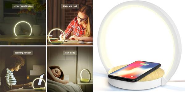 Lámpara de mesa LED de diseño Elehot con cargador inalámbrico de smartphone integrado barata en Amazon
