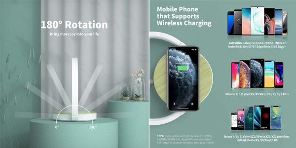 Lámpara de mesa LED de diseño Elehot con cargador inalámbrico de smartphone integrado chollo en Amazon