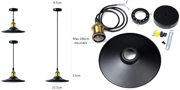 Lámpara de techo retro industrial Nuodifan Edison E27 chollo en Amazon