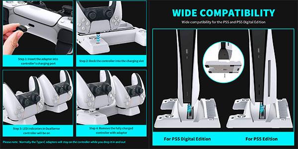 Base con ventilación NexiGo para PS5 con soporte de auriculares y carga de mandos barata