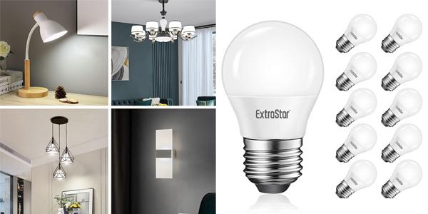 Pack x10 Bombillas LED E27 ExtraStar baratas en Amazon