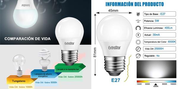 Pack x10 Bombillas LED E27 ExtraStar chollo en Amazon
