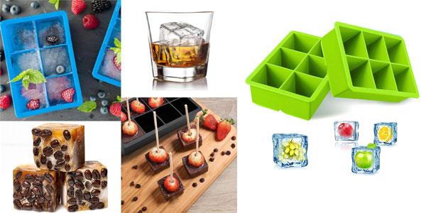 Set x2 Cubiteras de silicona iNeibo libre de BPA de hielos gigantes para cocktails o postres helados baratas en Amazon