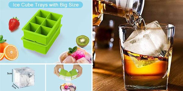 Set x2 Cubiteras de silicona iNeibo libre de BPA de hielos gigantes para cocktails o postres helados chollo en Amazon