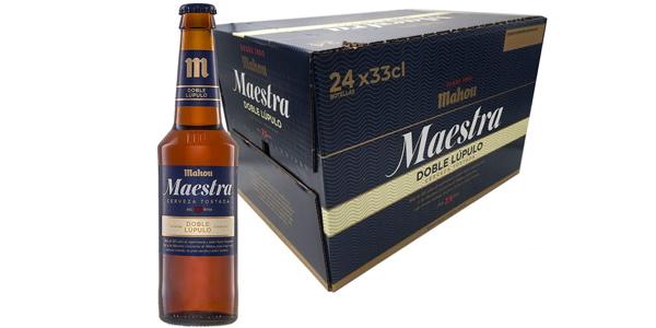 Pack x24 Mahou Maestra Doble Lúpulo Cerveza Lager Tostada botella de 330 ml barato en Amazon