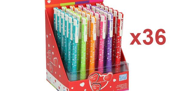 Pack x36 bolígrafos TTO I Love You barato en Amazon