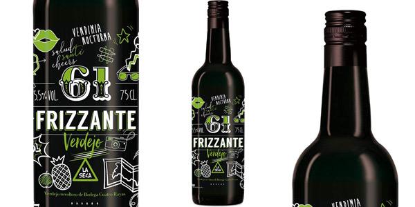 Pack x6 botellas vino 61 Frizzante Verdejo de Bodega Cuatro Rayas de 750 ml chollo en Amazon