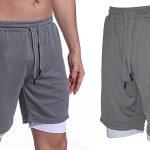 Pantalones cortos de running y fitness 2-en-1 Trabig para hombre baratos en Amazon