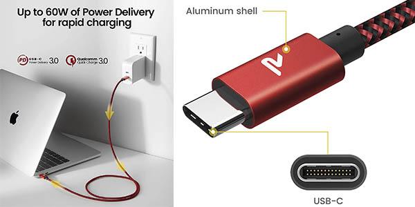Rampow cable USB C carga rápida oferta