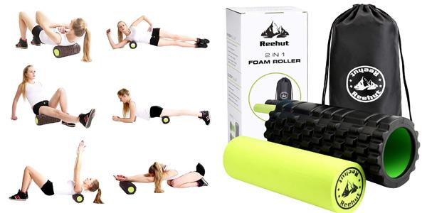 Rodillo de espuma 2 en 1 Reehut Foam Roller para masaje y recuperación muscular chollo en Amazon