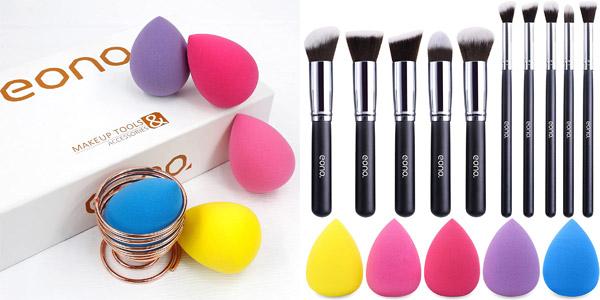 Set x10 Brochas de maquillaje profesional Synthetic Kabuki Premium de Eono Amazon Brand barato en Amazon