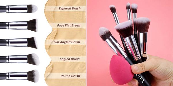 Set x10 Brochas de maquillaje profesional Synthetic Kabuki Premium de Eono Amazon Brand chollo en Amazon
