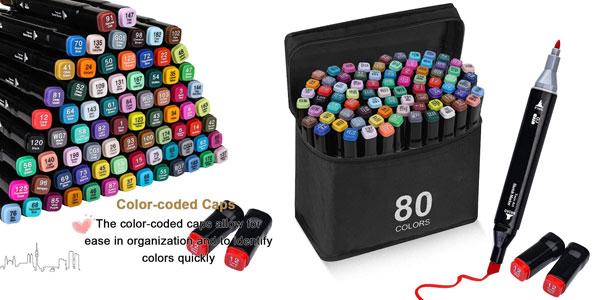 Pack x80 rotuladores de colores de doble punta Aottom Art Markers barato en Amazon