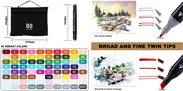 Pack x80 rotuladores de colores de doble punta Aottom Art Markers chollo en Amazon