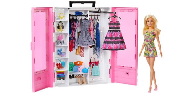 Armario portátil con muñeca Barbie Fashionista barato en Amazon