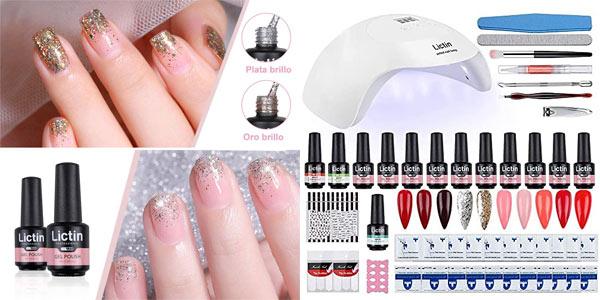 Kit Lictin Uñas de Gel con esmaltes, lámpara LED y herramientas barato en Amazon